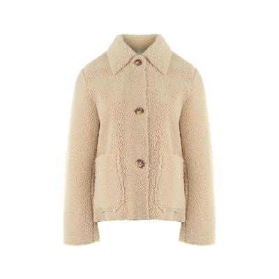 button point fluffy coat ivory